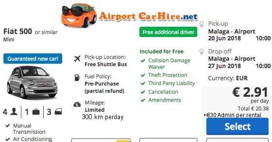 car hire murcia airport with free additional driver
