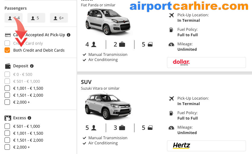 Car Hire with a Debit Card